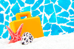 Tropical front with blue mosaic background Stock Images