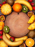 Tropical fruit in assortment (top view) Royalty Free Stock Photos