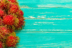 Tropical Fruit Background / Tropical Fruit / Tropical Fruit on Wooden Background Stock Photos