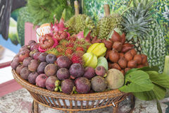 Tropical Fruit in the basket. /selective focus Stock Image