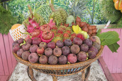 Tropical Fruit in the basket. /selective focus Stock Photography