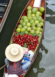Tropical fruit on a boat. A boat of tropical fruit at the floating market of Bangkok stock image