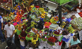 Tropical fruit boxes at Sao Paulo Market Royalty Free Stock Image