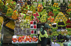 Tropical fruit boxes at Sao Paulo Market Stock Photo