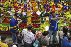 Tropical fruit boxes at Sao Paulo Market Royalty Free Stock Photo