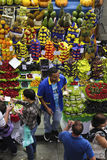 Tropical fruit boxes at Sao Paulo Market Royalty Free Stock Photos