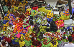 Tropical fruit boxes at Sao Paulo Market Stock Image