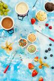 Tropical fruit and chocolate fondue top view Royalty Free Stock Images