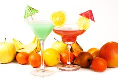 Tropical fruit cocktail concept. Cocktail with umbrella colorful illustration on isolated white studio background. Sexy. Delicious fashion drinks. Alcohol Stock Image
