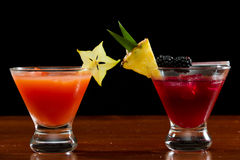 Tropical fruit cocktails Royalty Free Stock Images
