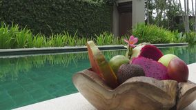 Tropical fruit and coco at the pool in the tropical resort.  stock video
