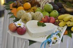 Functional tropical fruit arrangement stock images