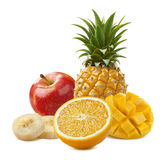Tropical fruit composition with pineapple isolated on white back stock photos