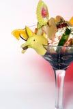 Tropical fruit dessert with banana garnish Stock Images
