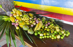 Tropical Fruit Display, Seychelles Royalty Free Stock Images