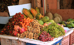 Tropical fruit display Royalty Free Stock Images