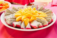Tropical fruit Dragon fruit and cantaloupe melon carve.  Stock Photography