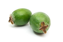 Tropical fruit feijoa isolated on white background Royalty Free Stock Images