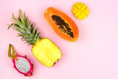 Tropical fruit flat lay on a pastel pink background. Corner orientation. Tropical fruit flat lay with dragon fruit, pineapple, papaya and mango on a pastel pink Stock Image