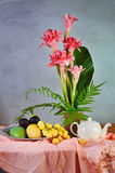 Tropical fruit and flower composition Stock Images