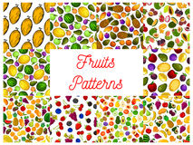 Tropical fruit and garden berry seamless pattern. With strawberry, apple and cherry, orange and banana, peach, mango and pineapple, grape and plum, feijoa vector illustration