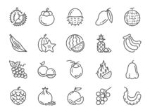 Tropical fruit icon set. Included icons as durian, mango, banana, longan, pineapple and more. vector illustration