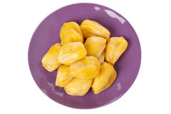 Tropical fruit Jackfruit (jakfruit, jack, jak). In bowl isolated on white background. Selective focus Stock Image