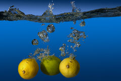 Tropical fruit limes and lemons in water Royalty Free Stock Photography