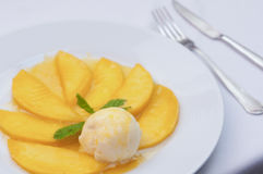 Tropical fruit mango with ice cream Stock Images