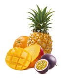 Tropical fruit mango, orange, pineapple, passionfruit isolated stock photos