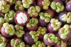 Tropical fruit, mangosteen. Mangosteen half side, is the Queen of Fruits Stock Image