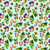 Tropical fruit pattern vector illustration