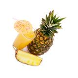 Tropical fruit pineapple, glass juice on white background. Stock Photos