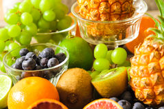 tropical fruit, pineapple, kiwi, red orange and blueberries Royalty Free Stock Image