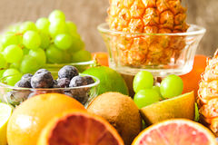 tropical fruit, pineapple, kiwi, red orange and blueberries Stock Photography