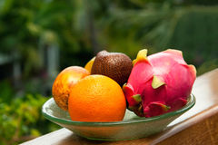 Tropical fruit on a plate Stock Photos