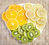 Tropical fruit on plate Royalty Free Stock Photo