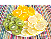 Tropical fruit on plate Stock Images