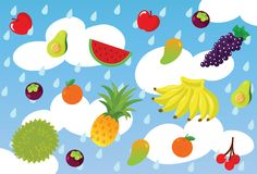 Tropical Fruit Rain Unique Whimsical Vector Illustration and Background. For many purpose such as stationary purse, pencil case, note book cover, bag, poster Stock Illustration