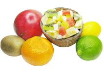 Tropical fruit salad in coconut Royalty Free Stock Photos