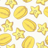 Tropical fruit seamless pattern with carambola Royalty Free Stock Photo