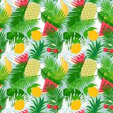 Tropical fruit seamless pattern with jungle leaves floral background. Stock Photo