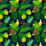 Tropical fruit seamless pattern with jungle leaves floral dark color background. Stock Photo