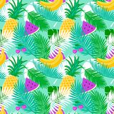Tropical fruit seamless pattern with jungle leaves floral pastel color background. Royalty Free Stock Images