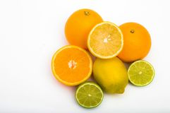 Tropical fruit on white background stock photography