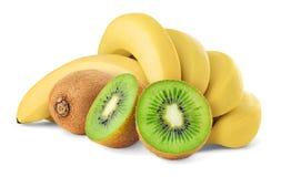 Isolated tropical fruits. Cut kiwi and bananas isolated on white background stock images