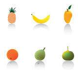 Tropical Fruits. A set of tropical fruits in semi-realistic rendering with dramatic drop shadows, pineapple, banana, mango, orange, guava, and calamansi Stock Photo