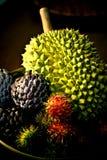 Tropical Fruits. Custard-apple , durian & rambutan in a wooden bowl Royalty Free Stock Photo