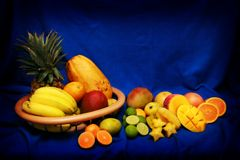 Tropical fruits. A bunch of tropical fruits Royalty Free Stock Photo