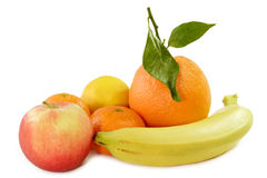 Tropical Fruits and on apple Royalty Free Stock Photo
